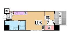オートロック・宅配BOX・防犯カメラ2台付^^インターネット無料の築浅マンション 402Bの間取