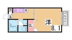 神戸女子大生に人気の広々ハイツ^^キッチンも広くてお料理好きの方に^^ 103の間取