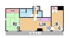 阪急六甲近くのオートロック付きマンション 広々バルコニー エレベーター付き 301の間取