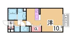 神戸親和女子大学まで徒歩圏内 インターネット無料 独立洗面台 オートロック 106の間取