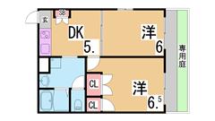 振り分けの2DK 駐車場あり エアコン2台有 オール電化 室内洗濯置き場 102の間取