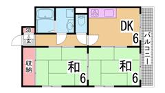阪急六甲近くのオートロック付きマンション 広々バルコニー エレベーター付き 102の間取