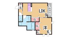 大型バスルーム 充実の設備の1LDKタイプ イオンモール神戸南も近いですよ 206の間取