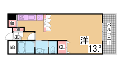 アーバネックス神戸駅前 306の間取