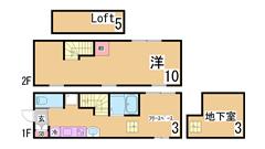 ロフト付・インターネット無料^^システムキッチン付のデザイナーズ^ C101の間取