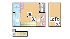 人気のロフト付き物件 システムキッチン ロフト ウォシュレット  203の間取