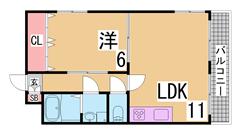 リノベーション物件 阪急六甲近くのオートロック付きマンション エレベーター付き 203の間取