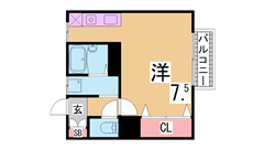 広々30㎡の1K 大型クローゼット 東山商店街まですぐで生活便利です 102の間取