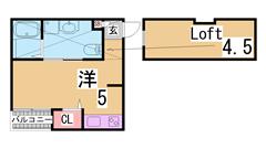インターネット無料^^システムキッチンガス2口・広~いロフト付^^ 201の間取
