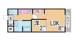 敷金礼金0円 室内リノベーション 人気のワコーレシリーズ 102の間取