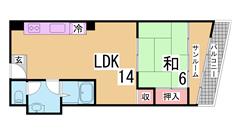 14帖の広々リビング 商店街・ダイエー近くの便利な立地です 306の間取