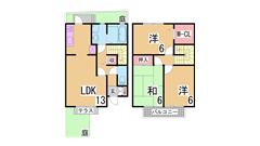 駐車場1台付のペットOK築浅テラスハウス^^大型のダイエーもすぐ^^ D113の間取