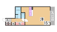 40㎡以上の広々なお部屋^^3WAYアクセスの立地でスーパー・コンビニもすぐ近く 401の間取