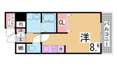 ガスキッチン・TVモニターホン・脱衣所付きの3点セパレート トランクルーム付^^ 201Aの間取