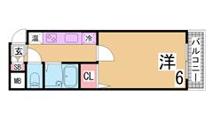 駅近^^お手頃賃料のセパレート 広めのキッチン・室内です^^ 206の間取