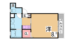室内大改装 オールフローリング 大型CL 環境良好 301の間取