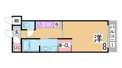 設備充実、インターネット(JCOM)無料、ウオークインクローゼット装備 602Bの間取