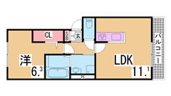 ゆとりの有る1DK リノベーション物件 三点セパレート キッチン2口設置可 101の間取