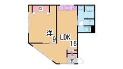 リノベーションの駅近広々1LDK エアコン2基 浴室乾燥機 3点セパレート 201の間取
