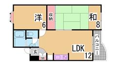 駐車場二台目も契約可 閑静な住宅街の振り分け2DK コンロ設置します A106の間取