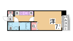 敷金0円の築浅ハイツ^^人気のカウンターキッチン^^駅まで坂無^^ 102の間取