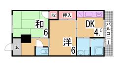 ペット相談 2DKの3WAY駅徒歩圏内物件 202の間取