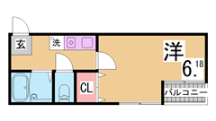 室内リノベーションセパレートに 駅近 コンビニもすぐ 賃料帯に注目です 205の間取