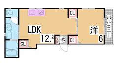谷上駅目の前の築浅1DK^^システムキッチン・シャンプードレッサー付^^ 206の間取