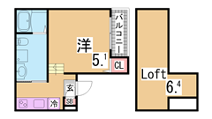 ロフト・エアコン付のおしゃれな空間 敷金礼金0円 インターネット無料 設備充実 103の間取