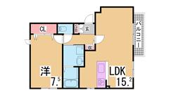広々1LDK^^システムキッチンガスコンロ三口^^寝室も広々ですよ^^ 102の間取