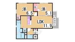ペットOKの築浅マンション オートロック・システムキッチン・浴室乾燥 102の間取