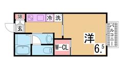 人気の岡場駅すぐ^^ウォークインクローゼット・システムキッチン^^ 102の間取