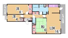 敷金礼金なしの分譲賃貸 充実の設備 オートロック エレベーター付き 2-702の間取