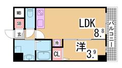 駅近くの築浅マンション カウンターキッチン 大型収納 初期費用もお得です^^ 402の間取