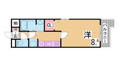 敷金0円の築浅マンション^^オートロック・2口ガスコンロ付^^ 303の間取