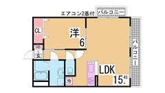ガスキッチン・TVモニターホン・脱衣所付きの3点セパレート トランクルーム付^^ 201の間取