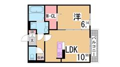 人気の松野通りの築浅マンション 2口システムキッチン 三点セパレート 407の間取