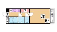 人気の松野通りの築浅マンション 2口システムキッチン 三点セパレート 505の間取