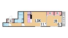 新築 駅近 オートロック バス・トイレ別 浴室乾燥 TVモニターホン 102の間取