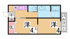 三点セパレート オートロック エレベーター付 広々バルコニー 907の間取