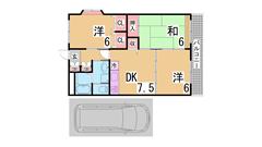 駐車場賃料に1台込み^^室内美麗^^お客様目線の初期費用^^閑静な地域です^^ 406の間取