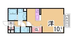 オール電化 システムキッチン・ウォークインクローゼット・駅近の築浅ハイツ 206の間取