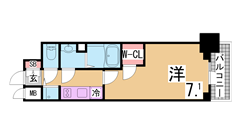 H26・7月内外装フルリノベーション^^インターネット無料^^3F以上神戸港一望 305の間取
