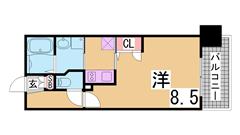 インターネット無料 神戸駅すぐ SECOM管理で安心入居 802の間取