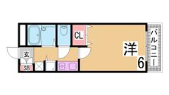 敷金礼金なし 新快速停車神戸駅 室内洗濯置き場 オートロック セパレート 501の間取