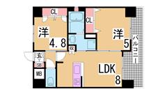 人気の新長田^^システムキッチン(ガス3口)・オートロック・浴室乾燥等設充実 405の間取