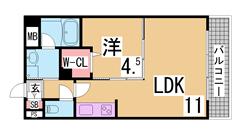 人気の兵庫駅近1LDK システムキッチン・ウォークインクローゼット 駐車場あり 204の間取