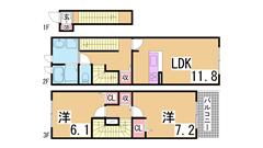 舞子坂ヒルズⅡ 201の間取