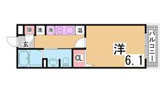 三ノ宮駅すぐ^^オール電化・インターネット代賃料に込みの築浅マンション^^ 909の間取