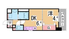 インターネット無料^^駅からすぐ^^オートロック・システムキッチン・浴室乾燥^^ 1006の間取